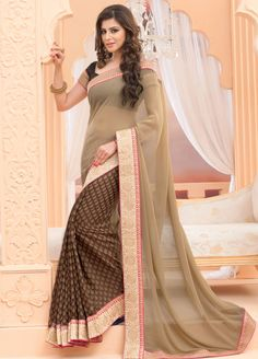 Decorous Oak Brown and Beige #Saree - Order online @ http://www.yourdesignerwear.com/decorous-oak-brown-and-beige-saree-p-54297.html