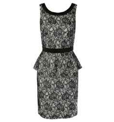 black & white bonded lace peplum dress - top rated dress at rickis.com