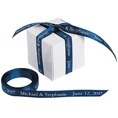 Make your wedding favors unique and memorable, right down to the personalized ribbon! Choose this navy ribbon to match your wedding color and then use it ...
