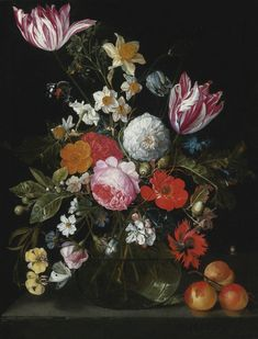 Cornelis Jansz. de Heem, David Cornelisz. de Heem | Still Life of Flowers in a Glass Vase on a Stone Ledge, 17th c.