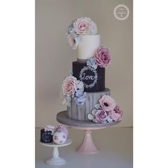 Rustic wedding cake with matching mini cakes #westmidlandsweddingcakes #weddingcakes #chalkboardcake