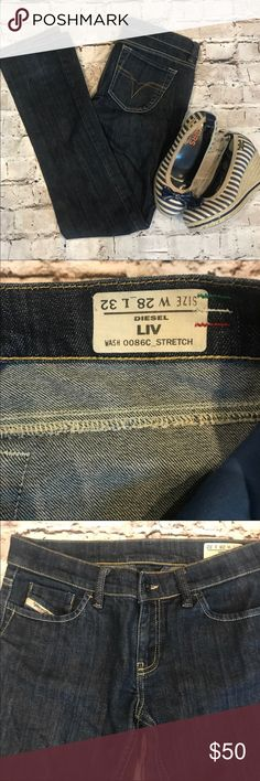 Diesel Industry Jeans LIV Stretch Gorgeous dark wash jeans-Straight Jeans-EXCELLENT CONDITION!! Bought but weren't the same size I needed so just reselling to hopefully find them a home. Very sad as they are SUPER adorable!! Great shape!! Diesel Jeans Straight Leg