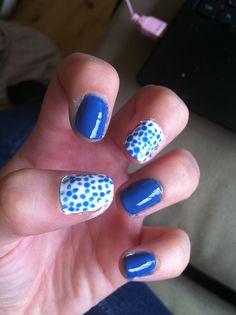nails art porcelain blue white nice diy creative easy