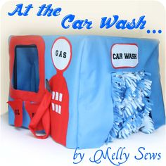 Sewing Gift For Kids At the Car Wash - Convert a table into a car wash for the kids! by Melly Sews - This post originally appeared as part of Fun in the Sun at Kiki Diy Gifts For Kids, Diy For Kids, Card Table Playhouse, Indoor Playhouse, Playhouse Plans, Table Tents, Creative Play, Table Cards, Diy Table