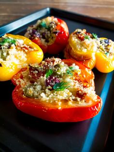 These simple stuffed peppers with couscous are cooked in the oven, making a perfect lunch or light dinner when working from home. Stuffed Peppers Oven, Vegetarian Stuffed Peppers, Quick Dinner Recipes, Side Recipes, Quick Meals, Quick Recipes For Kids, Easy Dinners, Cooking Recipes