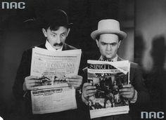 An Alternative History of Literature from Poland   Article   Culture.pl Vlasta Burian jako fryzjer Ferdynand Suplatko (z lewej) i Adolf Dymsza jako antykwariusz Kamil Klepka czytający prasę w jednej ze scen filmu, fot. Nac