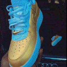 nike shoes nike air force 1 ait force one white gold nike air force 1 shoes nike air custom air force ones custom shoes high top sneakers nike gold sneakers blue sneakers gold and blue nike air force nike air force 1 nike sneakers blue and gold Buy Nike Shoes, Nike Shoes Air Force, Nike Air Force Ones, Nike Free Shoes, Nike Shoes Outlet, Gold Sneakers, Sneakers Fashion, Fashion Shoes, Sneakers Nike