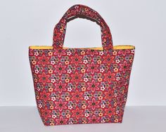 Women's Handbag, Tote Bag, Handmade Bag, Contains Pocket & Magnetic Button Closure, Red with Colourful Floral Fabric, Gift Idea for Sister by RachelMadeBoutique on Etsy https://www.etsy.com/listing/267754487/womens-handbag-tote-bag-handmade-bag