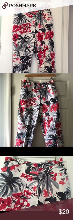 Women's Vintage Pants, Floral 6 Cotton Pants Vintage 90s Too Cute !! With a Hawaiian Floral Print Red, Black, Gray , on a white background, Cotton W/ Spandex. . By Ilyza New York . Slightly Used , in great condition. Pants Straight Leg