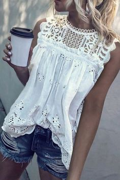 Casual Lace Round Neck Sleeveless Hollow Out See-Through Elastic Tops – Ininruby Casual T Shirts, Casual Tops, Sexy Bluse, Mode Hippie, Lace Outfit, Shirt Outfit, Fashion Outfits, Womens Fashion, Punk Fashion