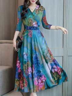 Abstract Style Print Dress Maxi Dres , formal dresses maxi dresses womens dresses summer dresses party dresses long dresses casual dresses dresses for wedding , # Floral Chiffon Maxi Dress, Maxi Dress With Sleeves, Boho Dress, Chiffon Saree, Long Sleeve Maxi, White Chiffon, Dress Skirt, Frock Design, Stylish Dresses