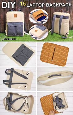Backpack Tutorial, Diy Backpack, Backpack Pattern, Diy Laptop, Laptop Bag, Back Bag, Handmade Purses, Bag Patterns To Sew, Fabric Bags