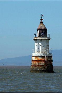 Plover Scar Lighthouse, Cockerham Sands, Lancashire, England