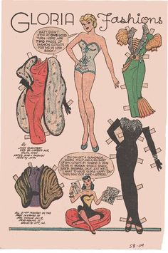 Gloria paper doll from Katy Keene pg 1 / eBay