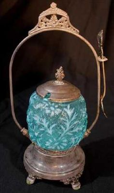 Victorian silver-plate pickle caster with blue insert
