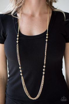Brushed in an antiqued shimmer, trios of gold beads give way to mismatched gold chains, creating edgy layers down the chest. Features an adjustable clasp closure. Sold as one individual necklace. Includes one pair of matching earrings. Long Pendant Necklace, Beaded Necklace, Gold Necklace, Necklace Chain, Silver Earrings, Dainty Diamond Necklace, Gold Chains For Men, Jewelry Trends, Etsy Earrings