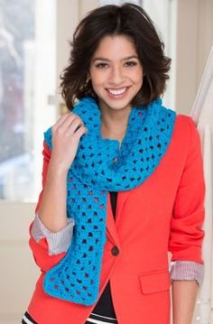 Beginner Granny Square Scarf in Red Heart With Love Solids - LW4130