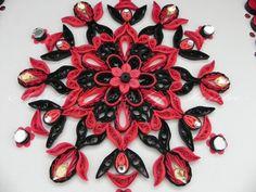 SmilingArts: Black and red mandala(rangoli style)
