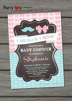 Twins Baby Shower Invitation Boy/Girl Baby by PartyInvitesAndMore