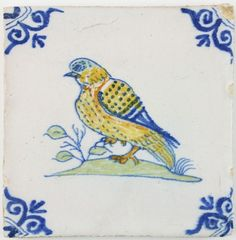 Antique Dutch Delft polychrome wall tile with a large pigeon, 17th century