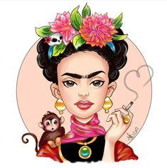 Loup Tex Avery, Frida Kahlo Cartoon, Freida Kahlo, Desenho Pop Art, Kahlo Paintings, Small Canvas Paintings, Frida Art, Deco Originale, Desenho Tattoo