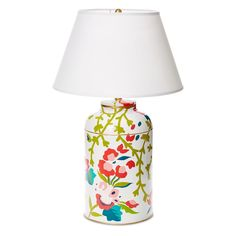 "A modern spin on chinoiserie style, Dana Gibson's Chintz Summer lamp emits a feminine air in poised living areas and bedrooms. Swirling botanicals elegantly adorn this urn-shaped light fixture, exuding romantic charm in shades of pink, green, and blue. A simple white empire shade bolsters the classic aesthetic. Overall: 30""H; Base: 10"" Diameter x 16""H; Shade: 18"" Diameter. Hand-painted tole. Accepts one 100 watt maximum bulb (not included)."