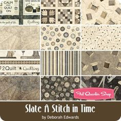 Slate A Stitch In Time Fat Quarter Bundle<BR>Deborah Edwards for Northcott Fabrics