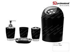 5-piece Bathroom Set - BLUE: liquid soap dispenser, soap tray, toothbrush holder, tumbler, #toilet #WC #black #sqprofessional