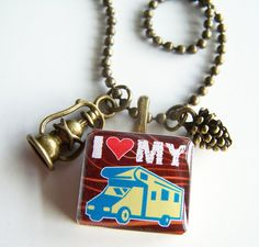 ONE I Heart My RV Camper Summer Tile Pendant and Chain by BusyBree, $14.00 -- beads, charms, hand stamped tags extra.