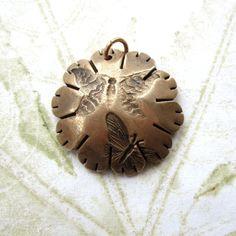 Handmade bronze pendant metal bronze flower pendant by THEAtoo,