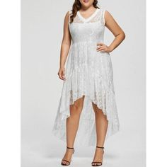 #RoseWholesale - #Rosewholesale Lace High Low Plus Size Party  Dress - AdoreWe.com