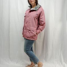 be1caf5ade Vtg LANDS END Womens L Plaid Wool Lined Cotton Blend Mauve Pink Hooded  Parka  LandsEnd