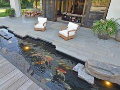 Stone Built Patio/Deck with Aquarium Underneath