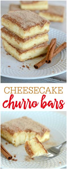 Delicious Churro Cheesecake!! These bars are covered in cinnamon and sugar and are the perfect sweet treat to your next get together.
