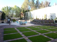 Artificial grass and pavers are quickly becoming the hottest new trend. Do you like the look? www.easyturf.com l easyturf l outdoor living l modern design