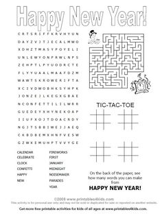 Happy New Years 4-in-1 Printable Activity Games Page : Printables for Kids – free word search puzzles, coloring pages, and other activities