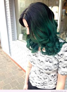 Cool teal ombre perfect with a black hat