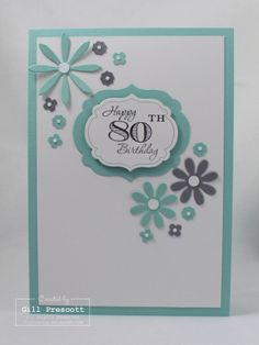 """Such a lovely card! Stampin Up """"Memorable Moments"""" in Pool Party and Basic Gray."""