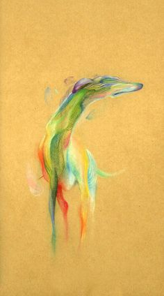 """Greyhound II, 2014, Pencil crayon on paper, James Chia Han Lee"""
