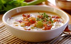 The full, rich flavour and silky texture of this chowder makes it pure winter indulgence. Come Dine With Me, Chowder Recipes, Hot Soup, Soul Food, Cheddar, Bacon, Dinner Recipes, Mustard, Eat