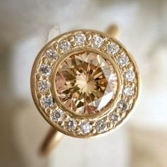 Fresh from the bench... a beautiful .78ct champagne diamond halo ring from Rebecca Overmann