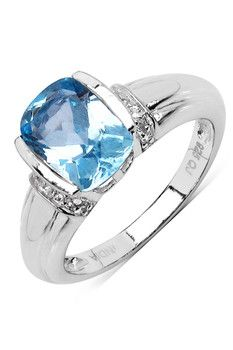 Olivia Leone Sterling Silver Cushion Blue Topaz & White Topaz Ring