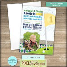 5x7 Golf Birthday Invitation // Golf by PixelStickStudio on Etsy, $12.50