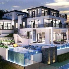 amazing home mansions luxury exterior design ideas 31 Dream Home Design, Modern House Design, Luxury Homes Dream Houses, Dream Homes, Modern Mansion, Dream House Exterior, Exterior Design, Architecture Design, Design Ideas