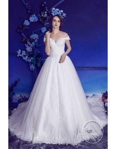 Gorgeous off shoulder v-neck lace appliques chapel train A-line wedding dresses HB-721 - 2017 Spring Bridal Gowns - Only Love
