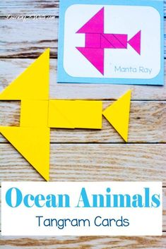 Use these ocean animals tangram patterns cards to help your kids further play with their tangrams. Definitely a fun ocean animals activity for both kindergarten and preschool. Ocean Activities, Literacy Activities, Summer Activities, Free Printable Math Worksheets, Preschool Printables, Montessori, Ocean Unit, Homeschool Math, Homeschooling