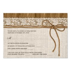 Burlap Wedding Reception Cards Rustic RSVP Cards With Menu Choices
