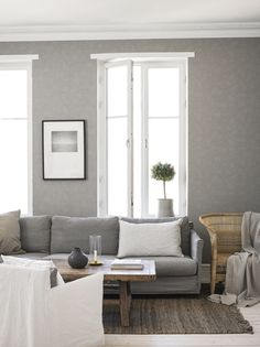 Scandinavian Living room in Gray and White Living Room Interior, Living Room Decor, Front Room Furnishings, Interior Wallpaper, Country Interior, Beautiful Interior Design, Scandinavian Living, French Country Decorating, Living Room Inspiration