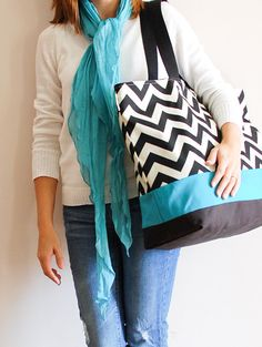Extra Large Beach Bag in Black and Cream Chevron by LucyJaneTotes, $68.00