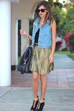 denim vest + metallic skirt. intriguing.